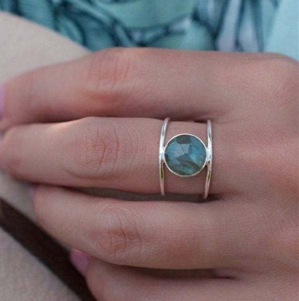 18k Plated 925 Sterling Silver Labradorite Ring