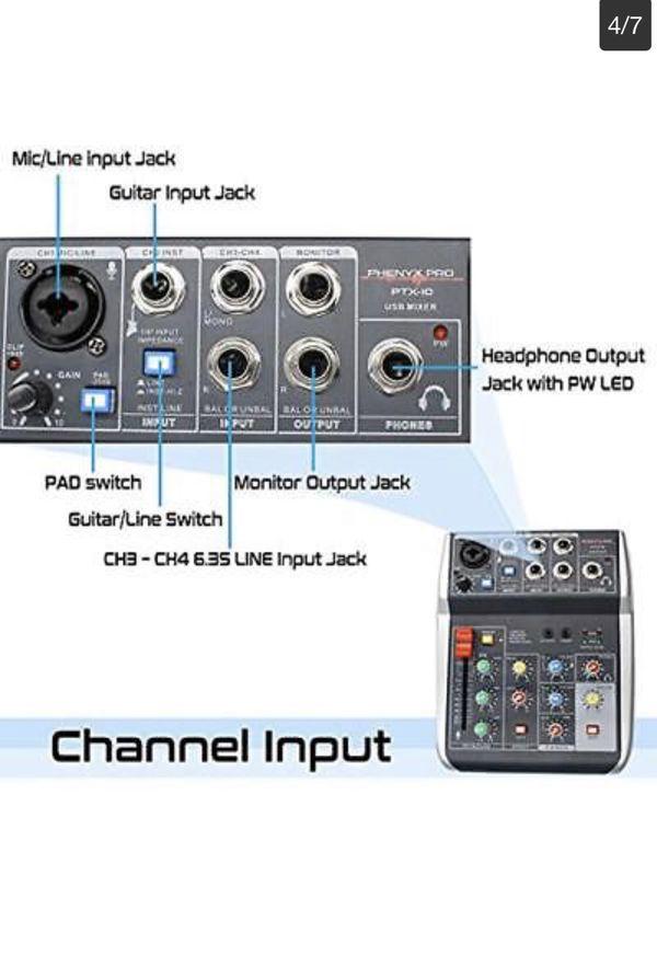 Phenyx Pro 4-Channel Audio USB Mixer 4-Input 3-Band EQ