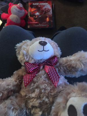Teddy bear with red poka dot bow on it for Sale in Heath, OH