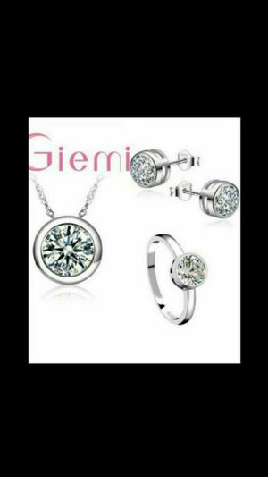 925 Sterling Silver Shinny CZ Wedding Necklace/Earring/Ring Jewelry Sets for Sale in Richmond, CA