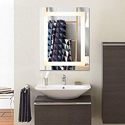 Wall Mounted LED Mirrors, Modern LED Lighted Bathroom Mirror, Dimmable Rectangle Touch Wall Mirror with Di
