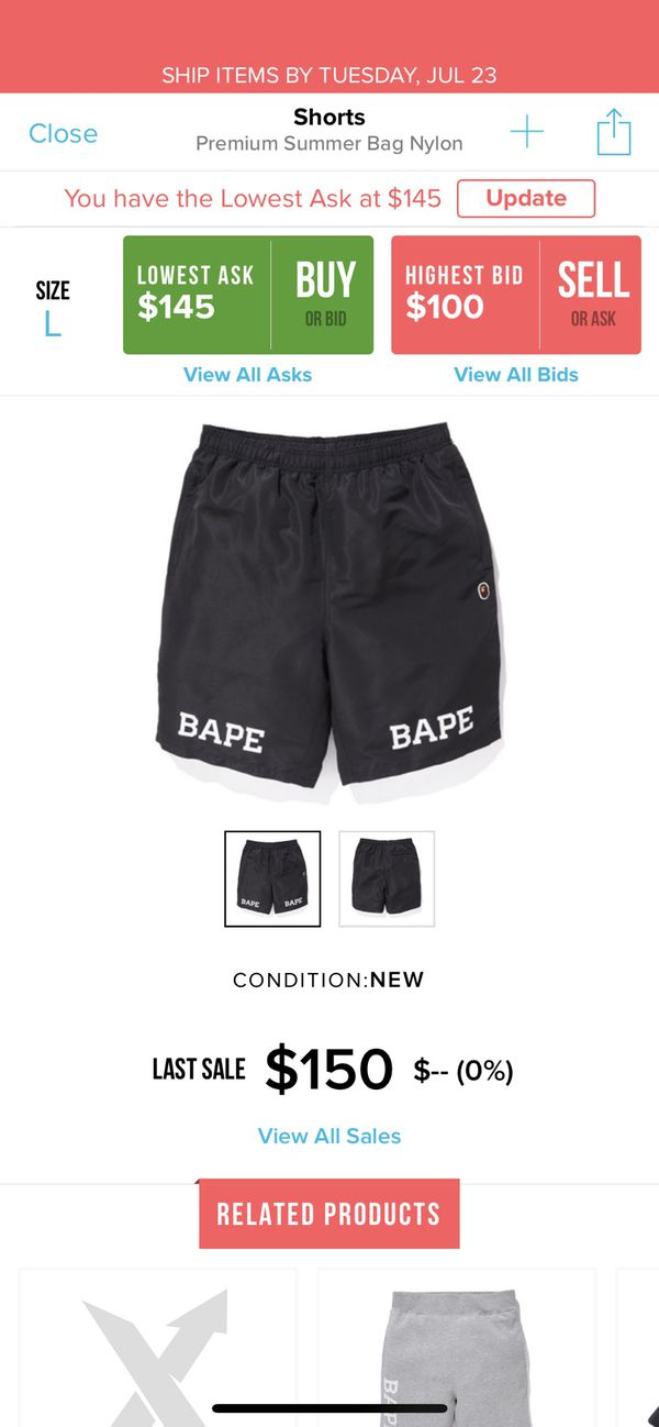 Bape summer shorts size XL PRICE IS FIRM