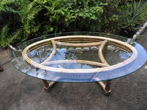 Antique coffee table glass and wood for Sale in Miami, FL
