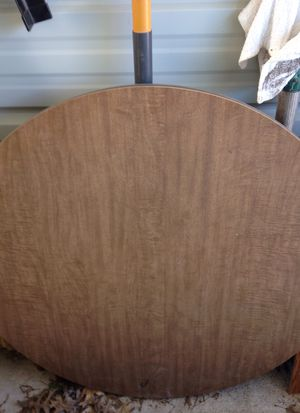 Small kitchen table and three stackable chairs and oak framed mirror. for Sale in Hallsville, MO