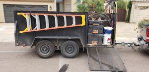 Tandem axle trailer with storage bins for tools, lawn mower ramp, shovel/rake rack, ladder rack for Sale in El Mirage, AZ