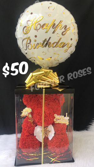 Beautiful Red Rose Bear 15in Tall. Perfect Gift 🎁. Roses Are Made Out Of Foam. for Sale in Lynwood, CA
