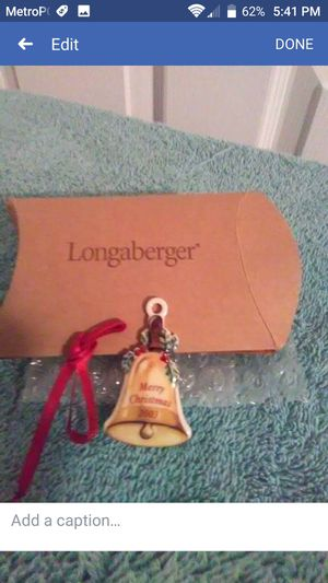 Longaberger New 2003 Merry Christmas Tie On Vintage Ceramic Bell for Sale in Ocala, FL
