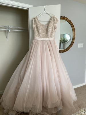 Soft blush pink beaded bodice with full tulle skirt wedding gown for Sale in Midlothian, VA