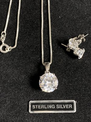 Sterling Silver Round CZ Pendant Necklace and Matching SS Stud Earings for Sale in Quincy, IL