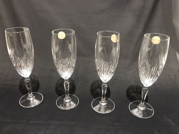 4 Princess House Crystal Champagne Glasses