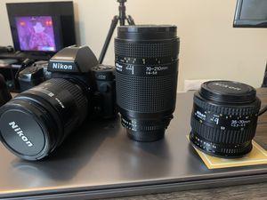 Nikon N8008 35m film camera + 3 lenses for Sale in Atlanta, GA