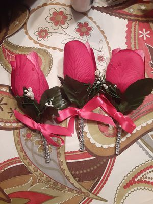 3 Fuschia Boutineers with Silver Bling for Sale in Beaumont, TX