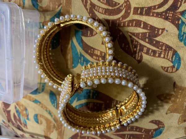 Gold plated bangle set openable size 2.4 new price negotiable