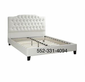 💢New Queen White Tufted faux leather bed frame💢 for Sale in Clovis, CA