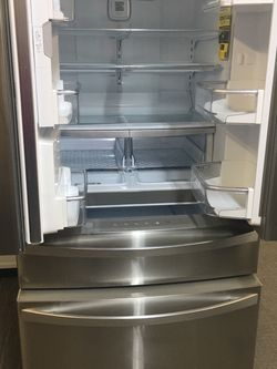 Kenmore Elite Stainless Steel Scraches Dent 4 Door Refrigerador With Warranty No Credit Needed Just $49 Down Payment Cash Price $2,500 for Sale in Garland,  TX