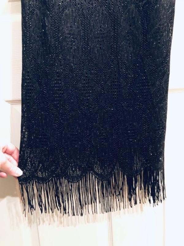 Black Fringe Vintage Party Dress