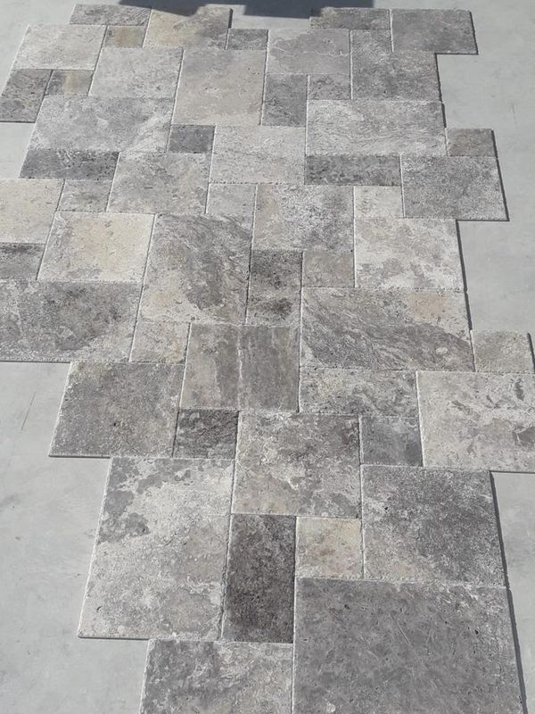 $2.79 sqft Silver Argento Travertine Brushed Chisled Versailles Pattern Tile SALE