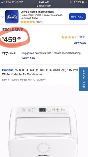 Hi sense WiFi AC Uinit for Sale in London, KY
