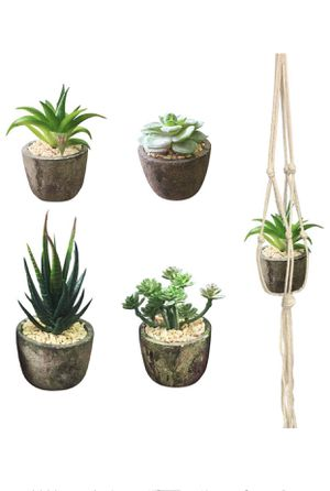 Artificial Succulent Plants with Pots and Macrame Rope Hangers | Set of 4 Decorative Faux Plants For Home Or Office for Sale in Piscataway Township, NJ