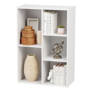 5-Compartment Wood Organizer Bookcase Storage Shelf, White for Sale in Houston, TX