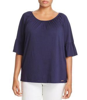 Michael Kors Woman's Gathered-Sleeve Top (Blue 0X) for Sale in Norfolk, VA