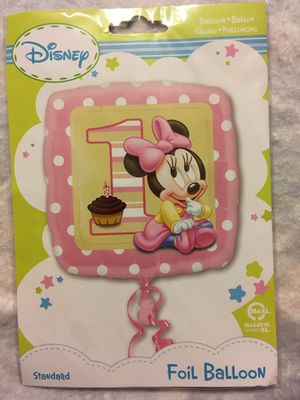 1st birthday baby Minnie (1)foil ballon standard, (1) 1st bday white latex ballon, (1) pink latex wht poco dot, (1) pink heart standard foil ballon, for Sale in Pompano Beach, FL