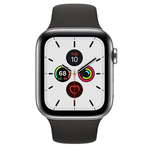 Apple Watch Series 5 GPS + Cellular 44mm Stainless Steel Case with Black Sport Band for Sale in Los Angeles, CA