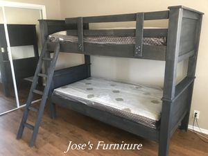 Grey Solid Wood Twin over Twin Bunk Bed (Mattresses Included) for Sale in Lynwood, CA