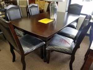 No credit needed dark espresso wooden 7pc dining table set for Sale in College Park, MD