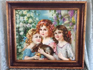 Stunning 3 Girls And Bunny Rabbit Oil Painting Signed for Sale in Bauxite, AR