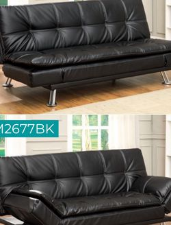 Black Faux Leather Futon Sofa $439 for Sale in Los Angeles,  CA