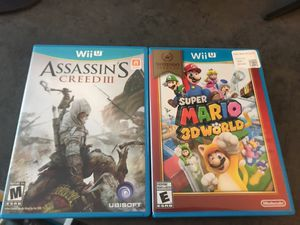 Super Mario 3D world and assassins creed Wii U for Sale in Dallas, TX