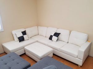$29 down 90 days no interest white faux leather sectional storage ottoman and pillows for Sale in College Park, MD