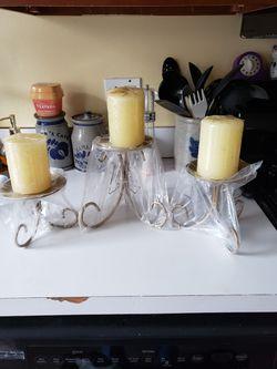 Trio Of Golden Candle Holders for Sale in Manassas,  VA