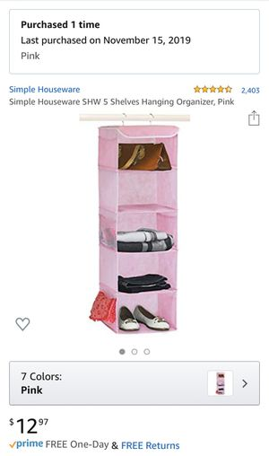 Shelf Closet Organizer Hanging- Pink for Sale in Corona, CA