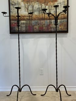 Pair Of vintage Wrought iron floor candelabra 5 holders for Sale in Los Angeles,  CA