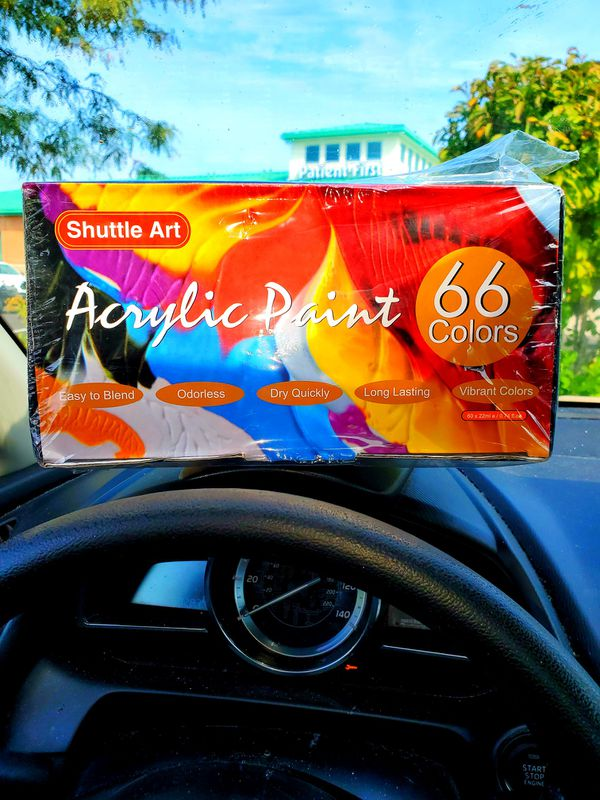 Acrylic Paint Set, Shuttle Art 66 Colors 22ml/Tube with 3 Brushes,Professional Quality,Rich Pigments,Non-Toxic f