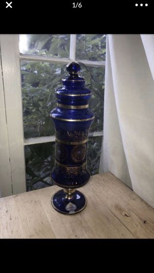 Tall Blue Florentine vintage lidded decanter? vase? Candy dish? Hand painted gold Italy 🇮🇹 for Sale in Portland, OR