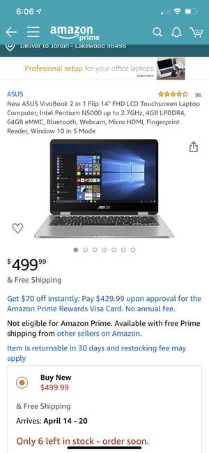 ASUS VivoBook 2 in 1 touchscreen laptop for Sale in Lakewood, WA