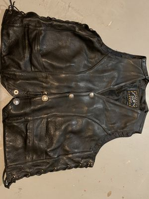Men's large leather motorcycle vest for Sale in Portland, OR