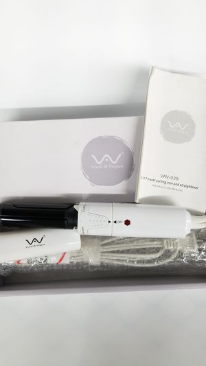 VAV 2 In 1 Ceramic Curling Wand Flat Iron Ionic Hair Curler and Straightener Portable Travel Hair Styling Tools for Sale in La Verne, CA