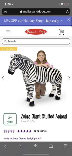 Zebra Giant Stuffed Animal for Sale in New York, NY