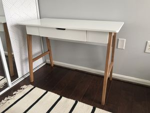 """Contemporary Desk with Drawer, 42"""" White/Brown for Sale in Sterling, VA"""