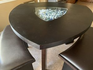 Open box, new breakfast table with black leather benches for Sale in Keller, TX