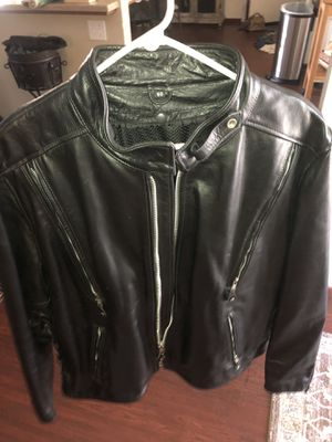 Guys XL heavy leather motorcycle jacket for Sale in Clovis, CA