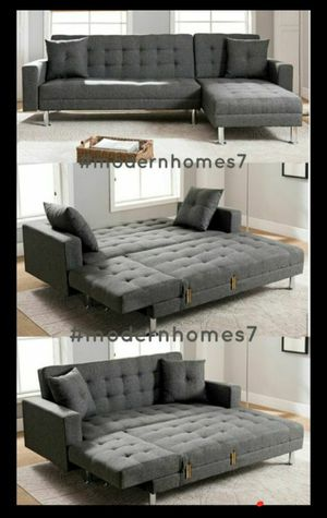 Grey linen sectional sofa with chaise launge convertible sleeper couch for Sale in Buena Park, CA