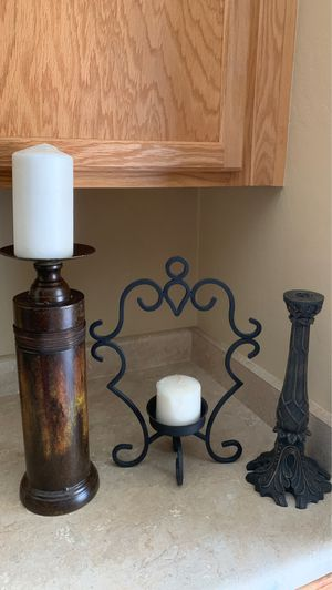 Home decor all for $9firm candle holder w/ 2 candles for Sale in Laveen Village, AZ