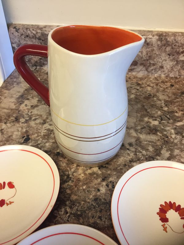 Cute thanksgiving ceramic plates and pitcher