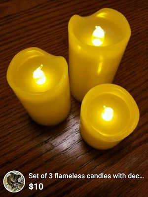 Set of 3 medium sized flameless candles with decorations for Sale in Tempe, AZ