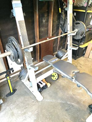 Weight Bench + Olympic bar + 350lbs weights + Extras for Sale in Mountain View, CA